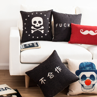 Free Shipping Skull Pirate Gothic Pop Linen Fabric Office Sofa Pillow Hot Sale New Home Fashion Christmas Decor 45cm Car Cushion