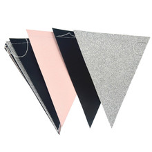 Paper Flags Banner Garland Pennant Pink White Gold For Wedding Birthday New Year Hanging Decoration Suppliers  15 Pcs 3M