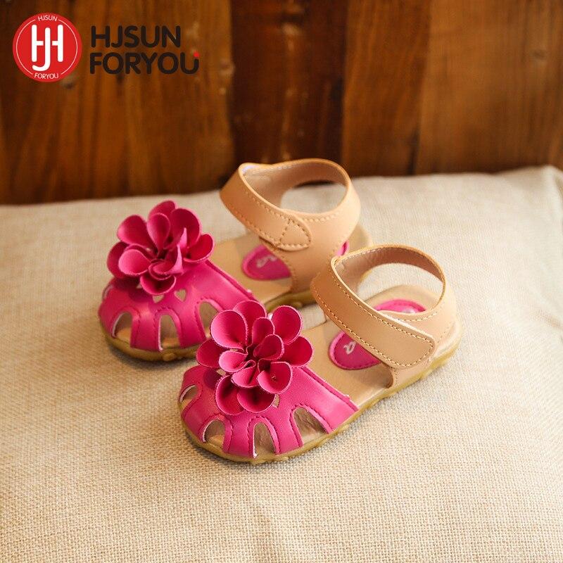 Fete noi de sosire fete din piele sandale vara 2019 copii casual florale Sandale fete pantofi dimensiune 21-30 Pantofi printesa