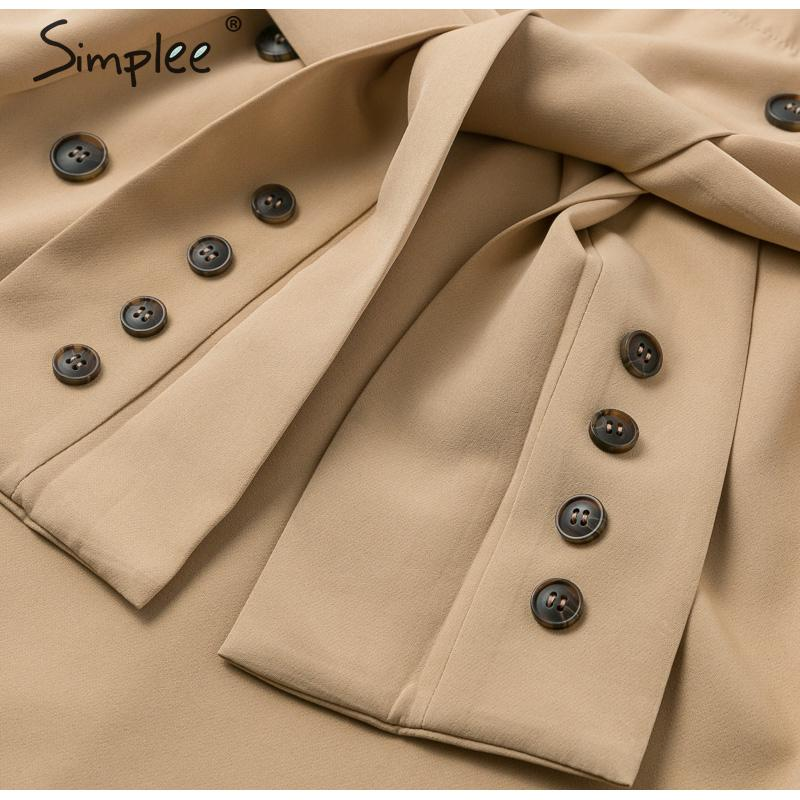 Simplee Patchwork puff sleeve shirt dress women Elegant button sash belt office ladies dresses Autumn ladies khaki work dress 18