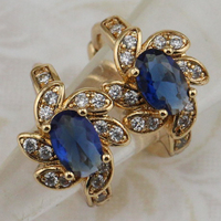Crazy Classy Nice London Blue CZ Gems Hoop Earrings Yellow Golden Plated Jewelry Gift For Women EB309b