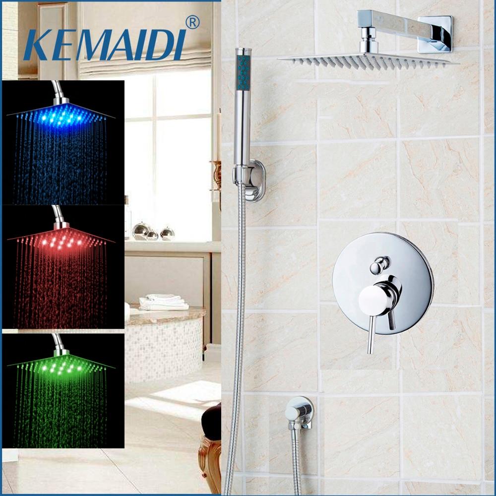 Kemaidi Bathroom Shower Set Bathtub Rainfall Shower Head Panel Mixer Wall Mounted Message Shower Set With Hand Shower Wall Mount Bathroom Fixtures