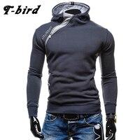 T Bird 2017 Men Hoodie Oblique Zipper Sweatshirt Mens Hip Hop Hoodies Fashion Brand Slim Fit