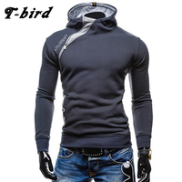 T Bird 2017 Men Hoodie Oblique Zipper Sweatshirt Mens Hip Hop Hoodies Fashion Brand Slim Fit