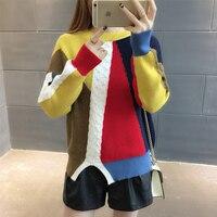 color split Pullover 2017 winter women's new loose shirt sweater coat