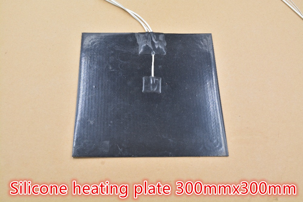 цена на Silicone heating pad heater black silicone plate 300mmx300mm for 3d printer heat bed 1pcs