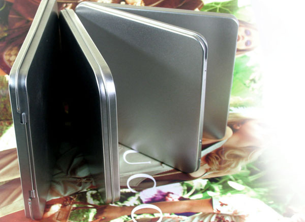 145*130*11mm Silver Rectangle Hinge Tin Box for CD or DVD disk with window