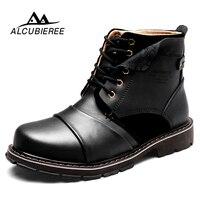 ALCUBIEREE/зимние Армейские Ботинки Martin, мужские кожаные ботильоны, очень теплые зимние ботинки, мужские повседневные военные ботинки высокого