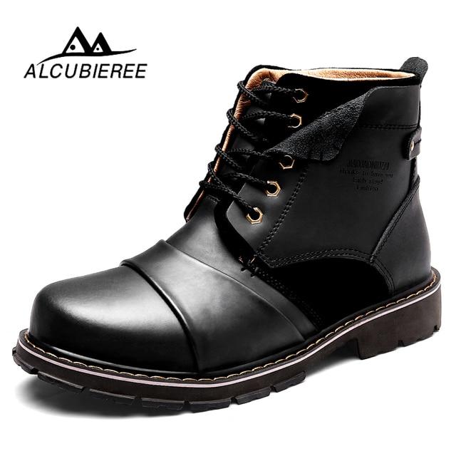 b690f9718a ALCUBIEREE Botas Militares Martin Ankle Boots De Couro Dos Homens de Inverno  Super Quente Botas de