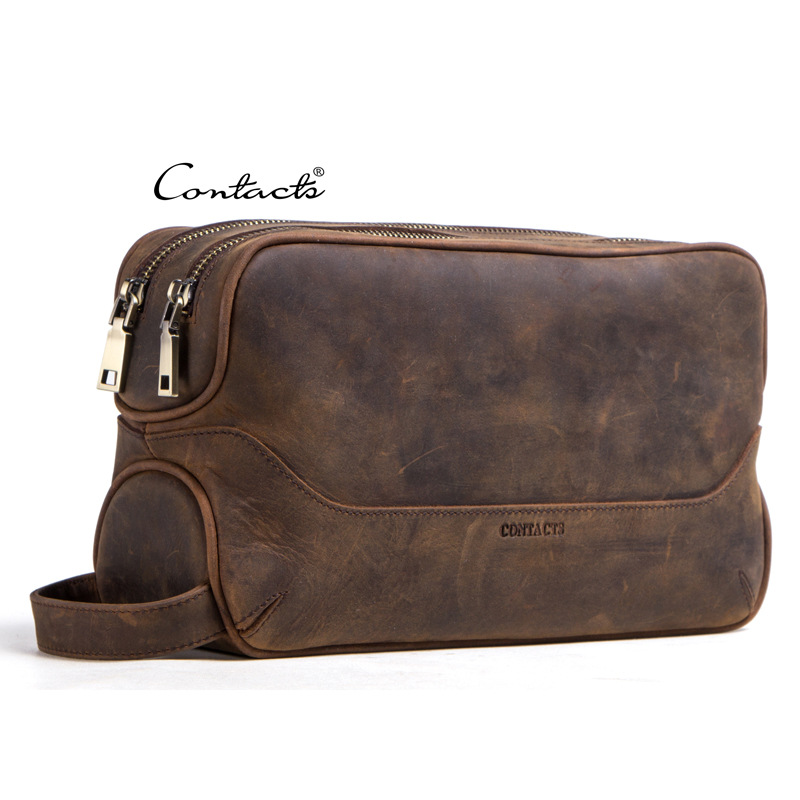Man Woman Genuine Leather Handbag Large Big Day Clutches Toiletry Cosmetic Cases Phone Hand held Makeup Washing Travel Bag Gift-in Cosmetic Bags & Cases from Luggage & Bags    1