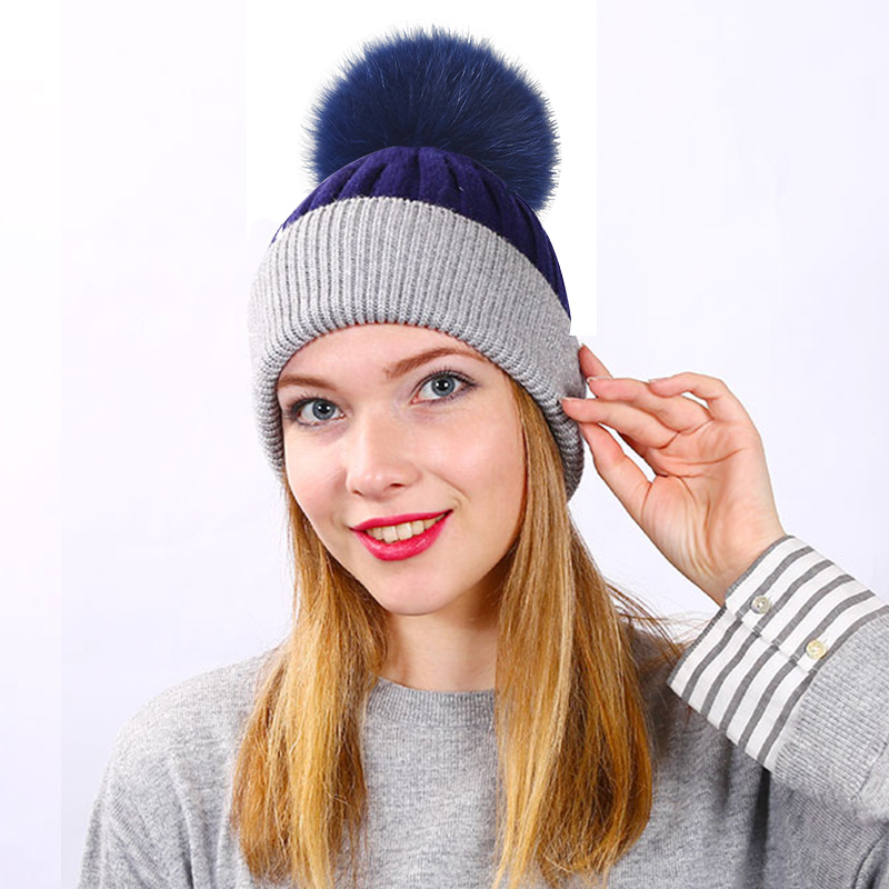 Woman Winter Hats Wool Fox Fur Pom Pom Stripe 2019 Autumn Winter Women'S Knitted Hat Female   Skullies     Beanies