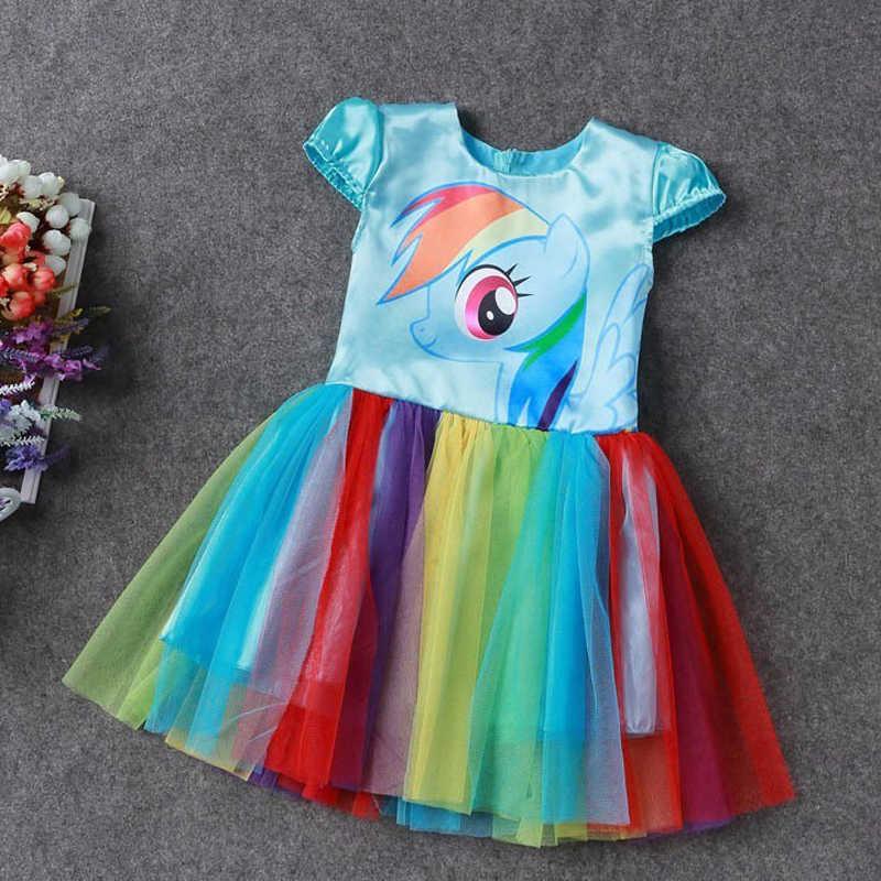 18b0f0d464 ... New Hot Sale My Baby Girl Dress Children Girl little Pony Dresses  Cartoon Princess Party Costume ...