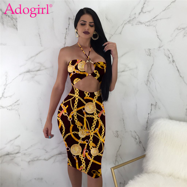 08d679fbc10 Adogirl Gold Chain Print Women Sexy Bodycon Dress Hollow Out Strapless  Halter Bandage Midi Club Party