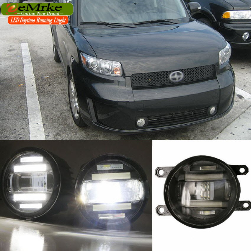 eeMrke Xenon White High Power 2in1 LED DRL Projector Fog Lamp With Lens For Scion xB 2008-2015 eemrke xenon white high power 2in1 led drl projector fog lamp with lens for suzuki sx4 2008 2016