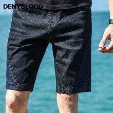 Denyblood Jeans 2017 Summer Fashion Mens Denim Shorts Stretch Contrast Denim Rubber Print Capris High Quality Bermuda 828404