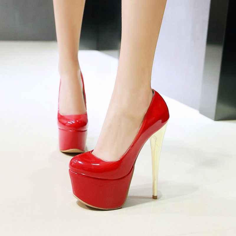 QPLYXCO 2017 Yeni Büyük boy 30-48 rugan kadınlar seksi moda süper yüksek topuklu (16 cm) ayakkabı platformu pompaları parti ayakkabıları Y-18