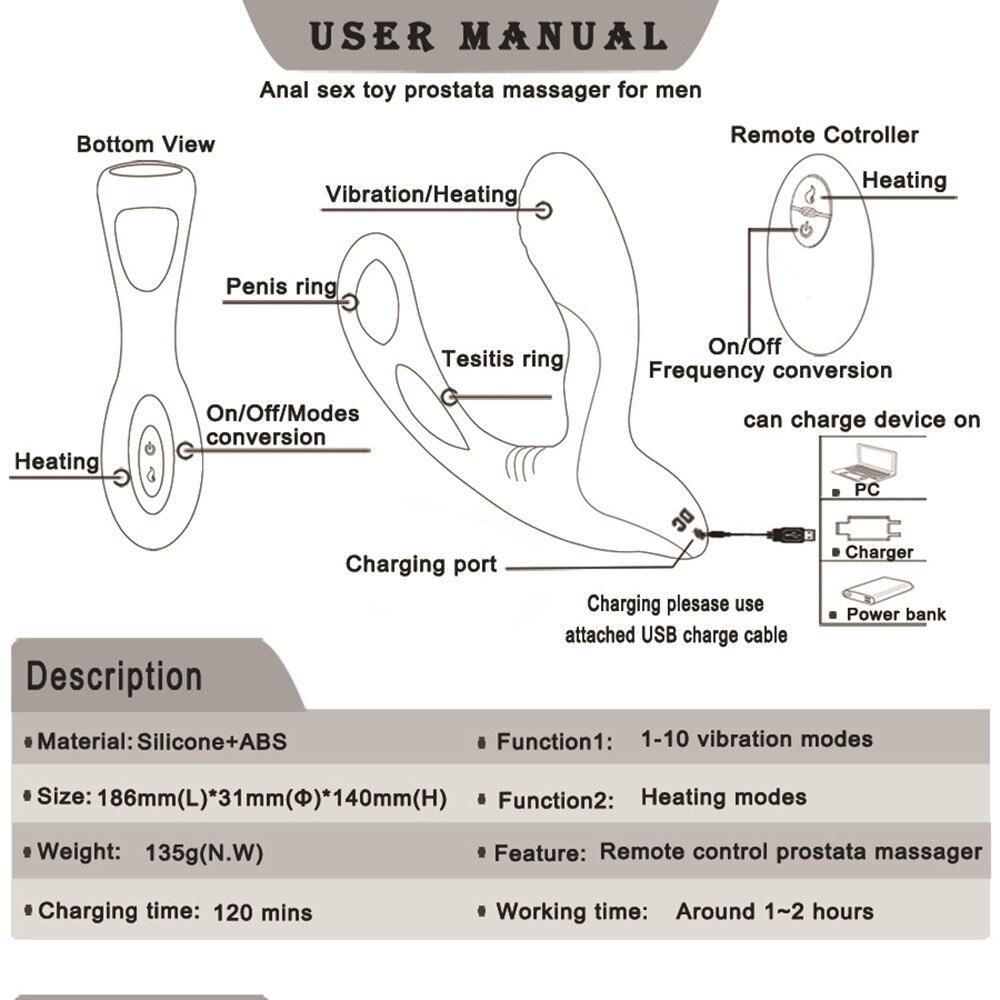 Heating Prostate Massage Vibrator Sex Toys For Men Waterproof Prostate Stimulator Butt Plug Delayed Ejaculation Ring Toy For Men (7)