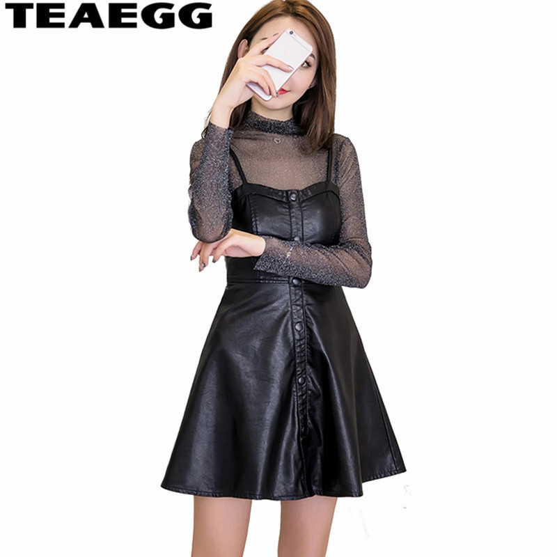 TEAEGG Robe Femme Sexy 2019 nouvelle mode PU cuir Robe femmes Mini Slim Robe de soirée printemps automne noir Vestido Mujer AL791