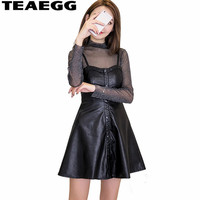 TEAEGG Robe Femme Sexy 2018 New Fashion PU Leather Dress Women Mini Slim Party Dress Spring