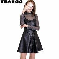 TEAEGG Robe Femme Sexy 2018 New Fashion PU Leather Dress Women Mini Slim Party Dress Spring