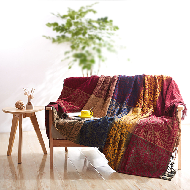 100 Chenille Sofa Towel Chair Blanket Decorative Slipcover On Bed Plane