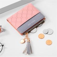 купить 2019 New Tassel Leather Wallet for Women Luxury Famous Mini Women Wallets Purses Female Brand Short Coin Zipper Purse по цене 452.73 рублей