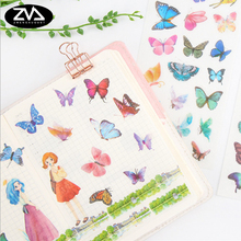 6 pcs/set Creative Color butterfly Stickers Diary Sticker Scrapbook Decoration Paper Stationery Stickers School Supplies kawaii butterfly vase diamond flower pvc decoration adhesive stickers diy stickers diary sticker scrapbook stationery stickers