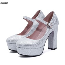 CDAXILAN new arrivals pumps women platform square heel round toe buckle strap super heels silver red wedding shoes party ladies yougolun women t strap pumps fake skin square heel 3 5 cm mid heels apricot black brown platform round toe sweet shoes a 053