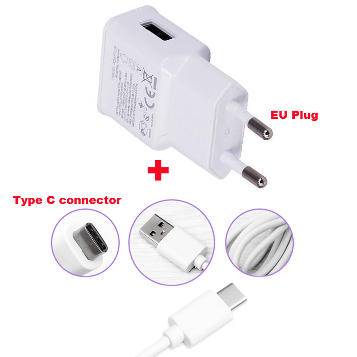 2A EU US Adapter Mobile Phone Charger +Type C USB Data Cable For Xiaomi Mi A1 (5X),ZTE nubia Z11 Max/Z17 Z12 mini,Axon 7,Axon 2