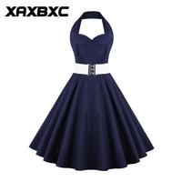 XAXBXC 2017 Zomer Vestido Effen Kleur Marineblauw Blackless 1950 s Vintage Swing Vrouwen Strapless Jurk Avondfeest Plus Size