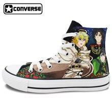 Converse All Star de Las Mujeres de Los Hombres de alta Superior Zapatos Serafín de finales Del Diseño Pintado A Mano Lienzo Zapatillas de Deporte de Anime Cosplay
