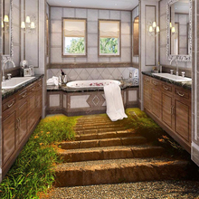 3D Floor Painting Wallpaper Stone Steps Sunshine