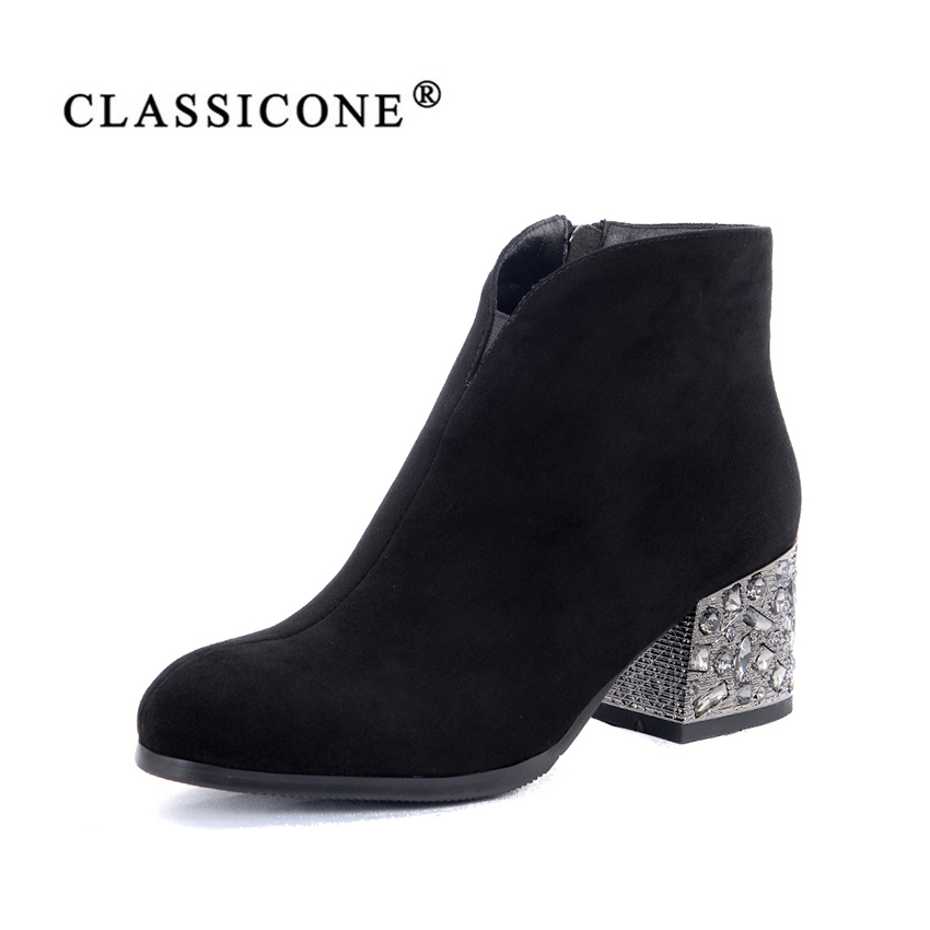 women shoes spring autumn woman ankle boots middle heel pumps genuine leather fashion black brand crystal decoration CLASSICONEwomen shoes spring autumn woman ankle boots middle heel pumps genuine leather fashion black brand crystal decoration CLASSICONE