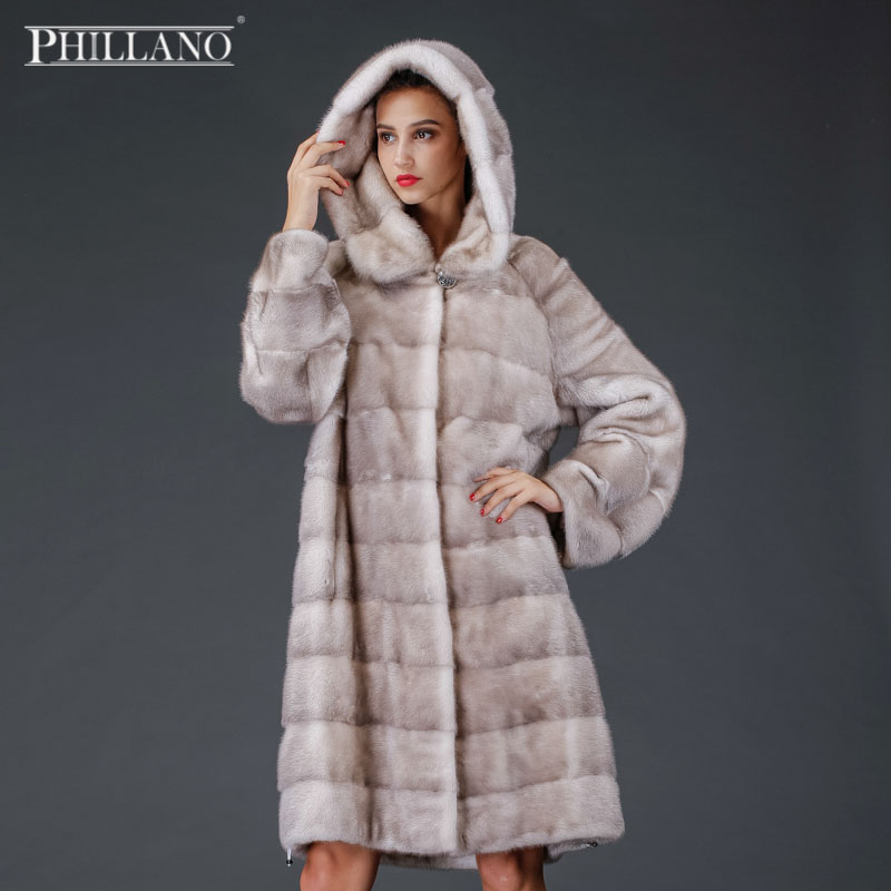 VÝPRODEJ Phillano Winter Russian Women Skutečný přírodní kožich s kapucí norek s Big Hood Mink Fur Coat YG12263-100
