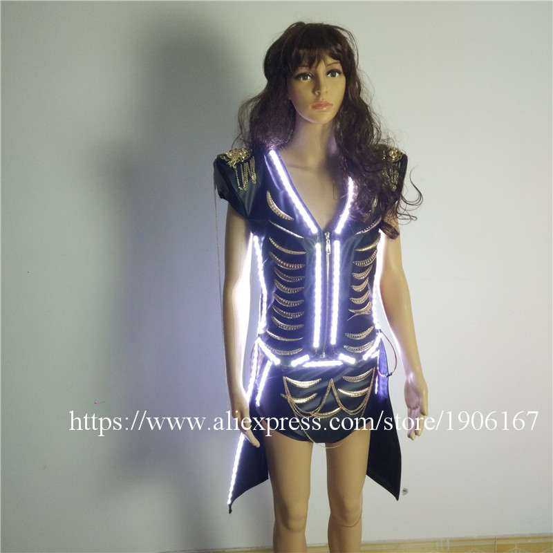 Led Luminous Sexy Women Ballroom Costume LED DJ Nightclub Party Evening Lady Dress Clothes For Dancing Stage Show Bar Props