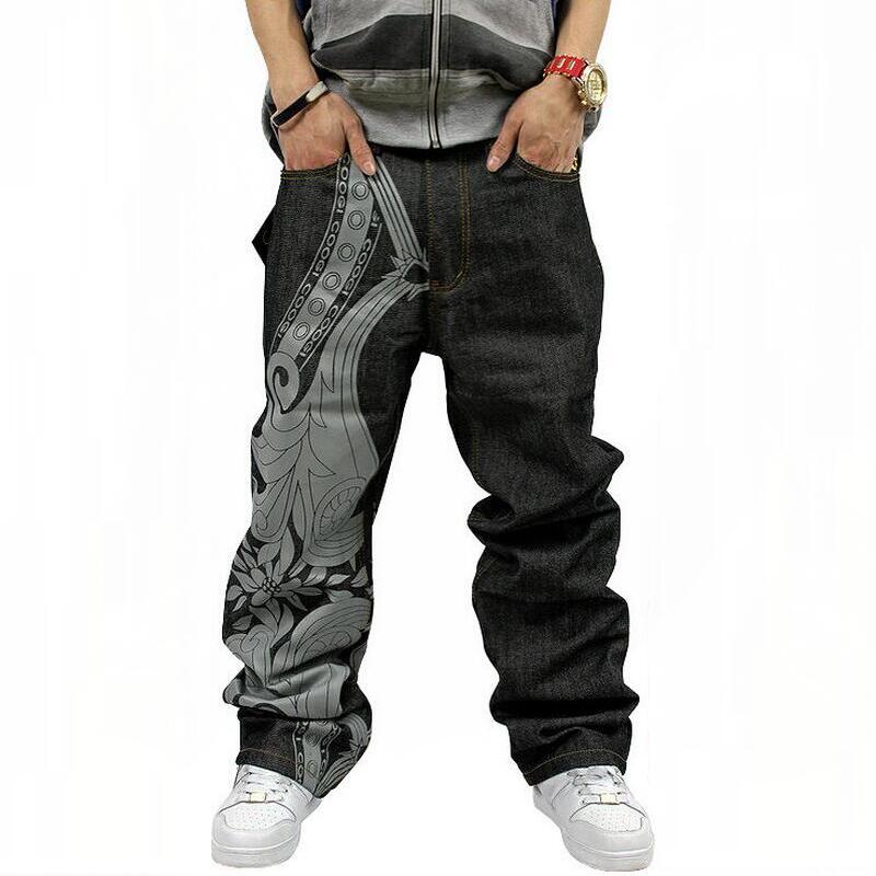 Men Jeans 2016 Hip Hop Designer Fashion Straight Loose Long Pants Plus Size Black Street Dance Denim Jeans Men