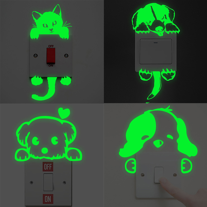 Cartoon Cat Dog Switch Luminous Stickers Fluorescent New Glow Fairy Moon Stars In The Dark Home Decor Vinyl Mural Art Decoration in Wall Stickers from Home Garden