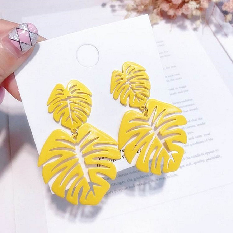 Korean Statement Leaf Earrings For Women New Fashion Jewelry Drop Dangle Earrings Yellow Party Holiday Accessories Bijoux Gift