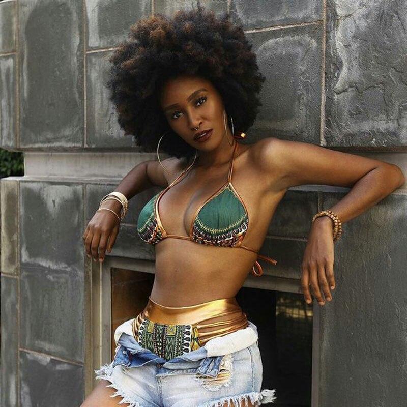 2019 New African Print Two-Pieces Bath Suits Bikini Set Sexy Geometric Swimwear Swimsuit Gold High Waist Swimming Suit
