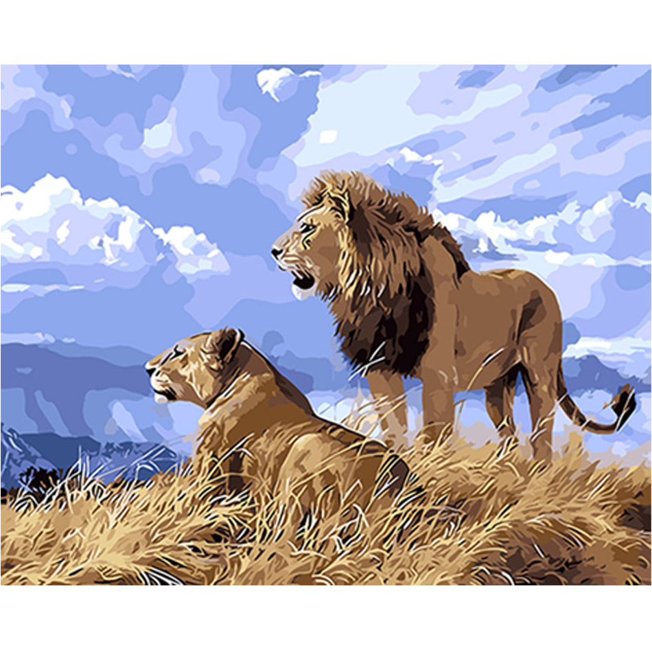 WONZOM Lion Lover-DIY Oil Painting By Numbers kit,Acrylic Paint,Canvas Painting, Paint 40x50cm