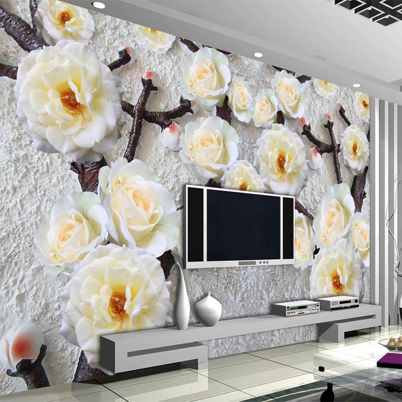3D Stereoscopic Relief Yellow Flower Mural Wallpaper Custom Fashion Interior Design Photo Living Room