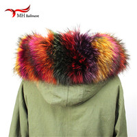 Winter coat 100% Real New Real fur Collar 100% Colorful Genuine Raccoon fur Scarf female Winter for Women Scarf luxury shawl