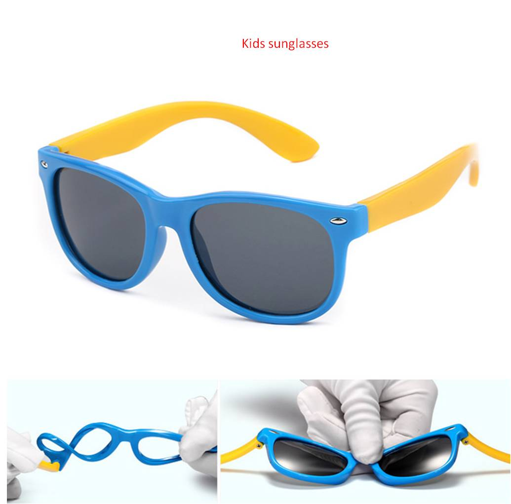 Girl's Sunglasses Children Square Polarized Silicone Sunglasses Safe Sun Glasses Uv400 Coating Mirror Lentes De Sol Mujer Girls Boys