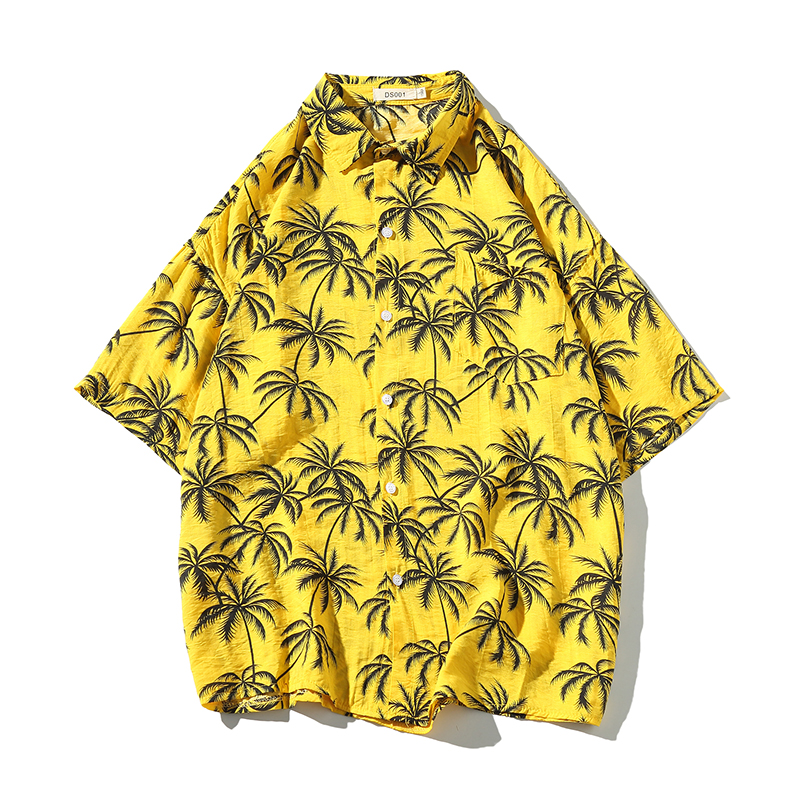Yellow Palm Tree Men Hawaiian Shirt With Pocket Loose Fit Aloha Quick Drying Cool Breathable Beach Outwear Top Casual image