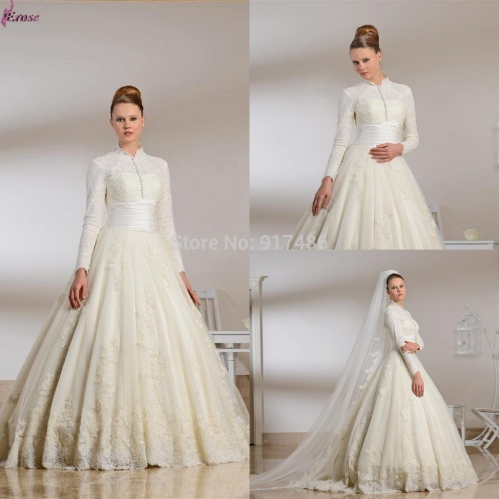 2015 lace muslim wedding dress ball gown floor length high for Long sleeve casual wedding dresses