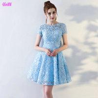 Glamorous Blue Lace Prom Dresses Short 2017 New Sexy Prom Dress Scoop Tulle Sleeveless Kenn Length