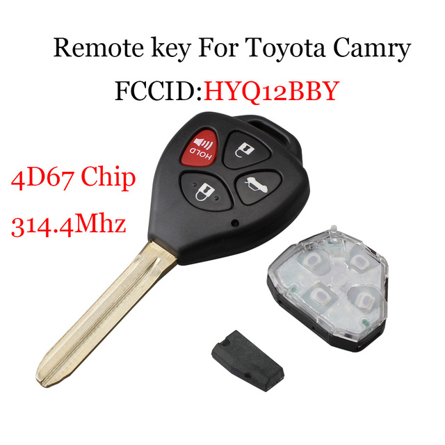 Remote Key Fob 314 4mhz For Toyota Camry 2007 2008 2009 2010 Hyq12bby Uncut Blade Toy43 Transponder 4d67 Chip