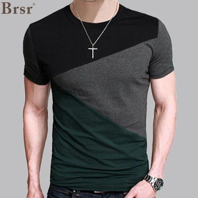 6 Designs Mens Camiseta Slim Fit Tripulação Pescoço T-shirt Dos Homens  Camisa de Manga a0f01db95d9