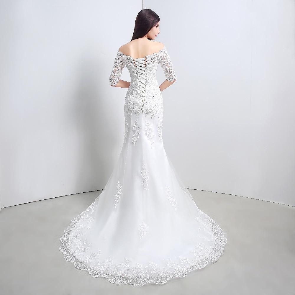 Real Picture Beteau Half Sleeve Mermaid Lace Applique Wedding Dresses Cheap  Bridal Dresses Vestido De Noiva Robe De Mariage-in Wedding Dresses from  Weddings ... 7e627078b9b7