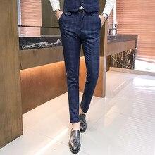 Otoño nuevo cuadros trajes pantalones para los hombres de negocios casuales  Pantalones slim elegante pantalones hombres 26e54f2aaa1